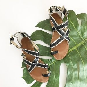 Enzo Angiolini Black & Silver Leather Sandals